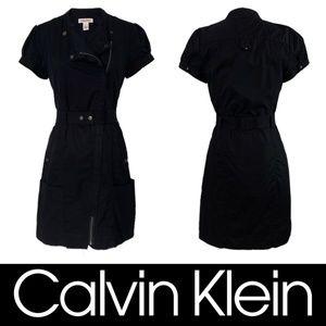 Calvin Klein Moto Zip Belted Utility Shirt Dress